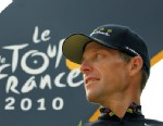 PHOTO: Lance Armstrong looks back on the podium after the 20th and last stage of the Tour de France cycling race in Paris, July 25, 2010.