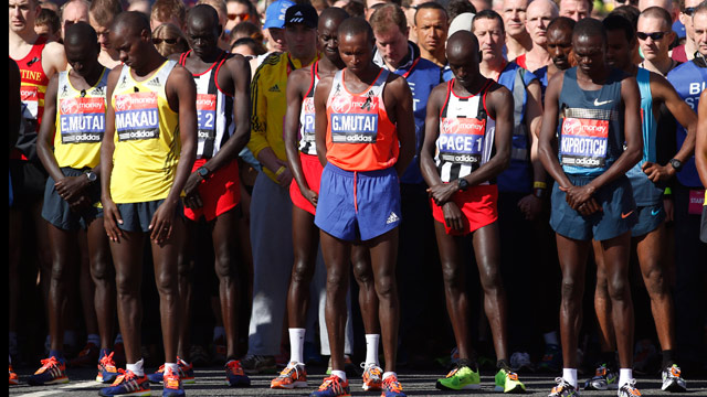 PHOTO: Runners observe a 30 second silent in memory of Boston Marathon bombings before the start during the London Marathon, London, Sunday, April 21, 2013.