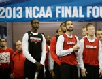 PHOTO: Louisville players enter the floor before practice for their NCAA Final Four tournament college basketball semifinal game against Wichita State, Friday, April 5, 2013, in Atlanta.