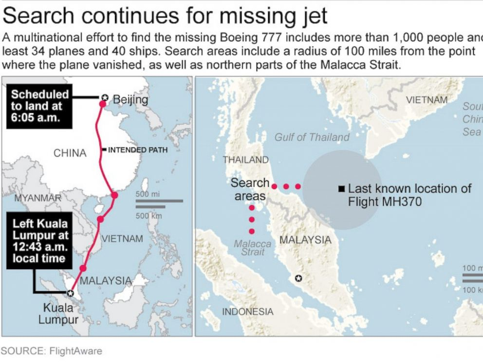 PHOTO: Map shows search areas for the missing Malaysia Airlines flight MH370.