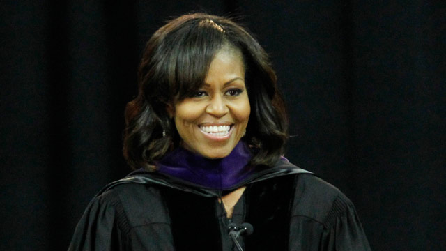 PHOTO: First lady Michelle Obama speaks at the commencement ceremony for Bowie State University, Friday, May 17, 2013, at the University of Maryland in College Park, Md.