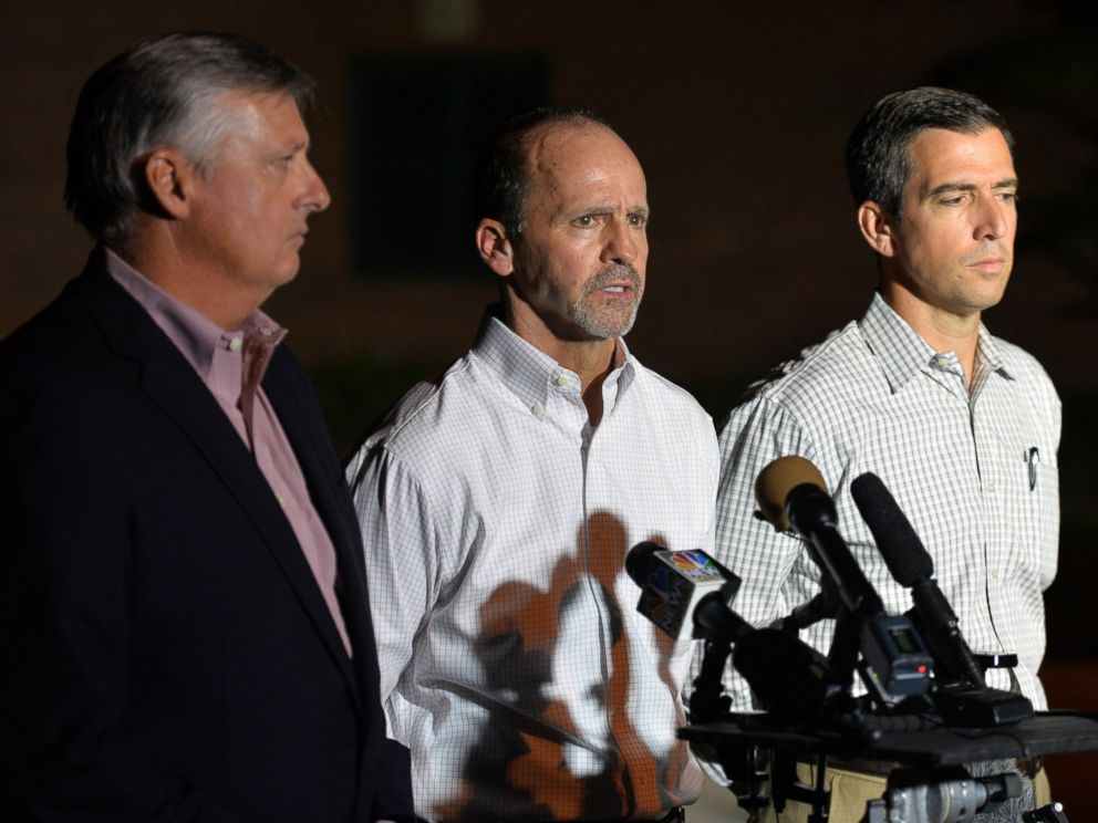 PHOTO: Executives from TOTE, Inc. hold a press conference about about the missing cargo ship El Faro outside the Seafarers International Union hall in Jacksonville, Fla., Oct. 4, 2015.