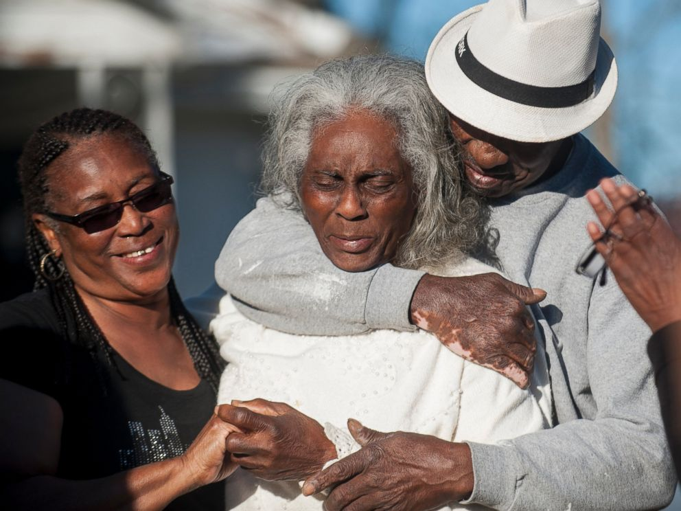 PHOTO: Nellie Ruth Gunn is comforted by supporters after Montgomery District Attorney Daryl Bailey announced on Wednesday, March 2, 2016, that Montgomery Police Officer Aaron Smith was arrested in connection to the shooting death of her son Greg Gunn.