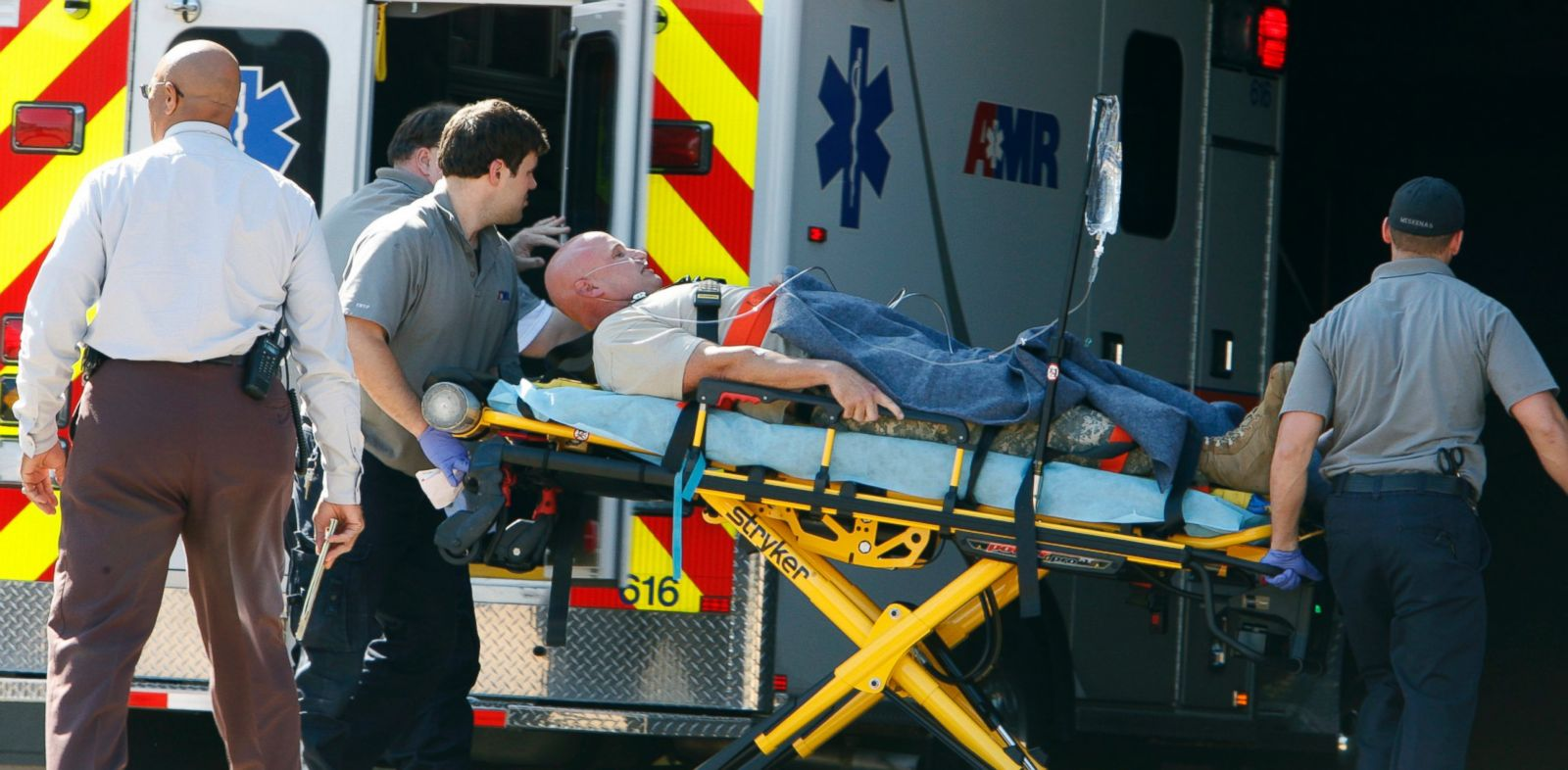 PHOTO: A patient believed to be one of the National Guardsmen injured near the naval base in Millington, Tenn., was taken to The Med in Memphis, Tenn. on Oct. 24, 2013.