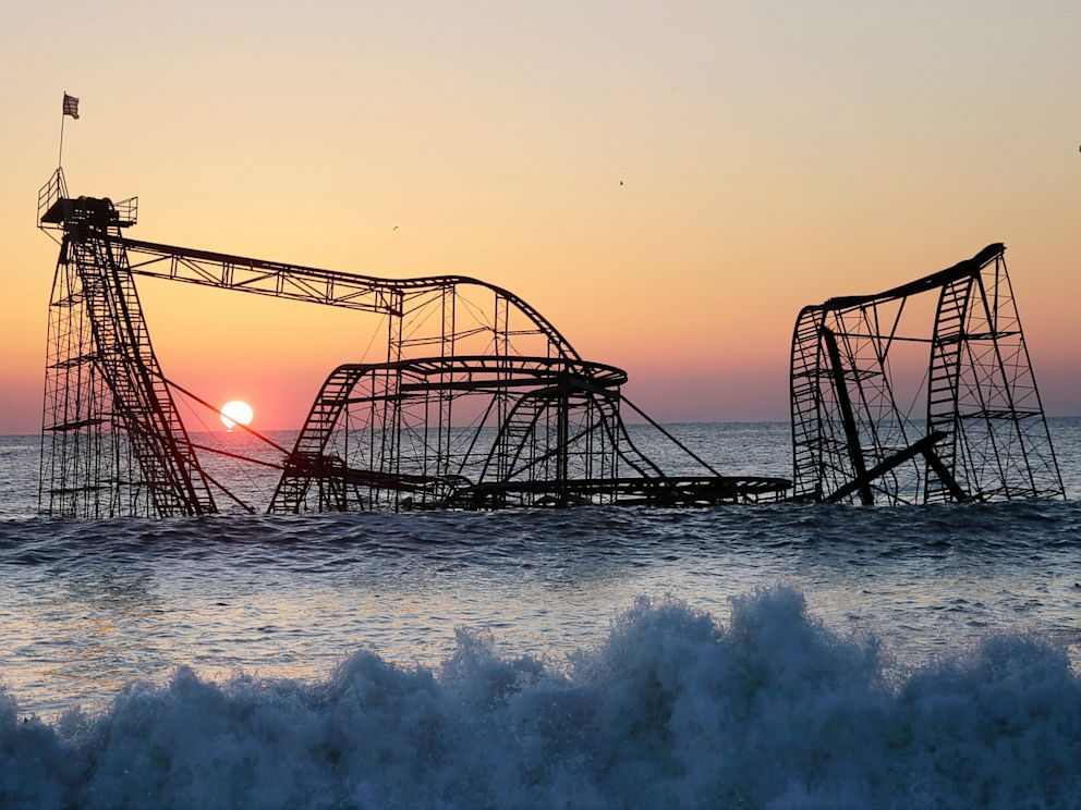 PHOTO: A Seaside, NJ, roller coaster landed in the ocean after superstorm Sandy.