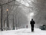 PHOTO: A pedestrian walks through the snow in Washington Park, Feb. 8, 2013, in Albany, New York.