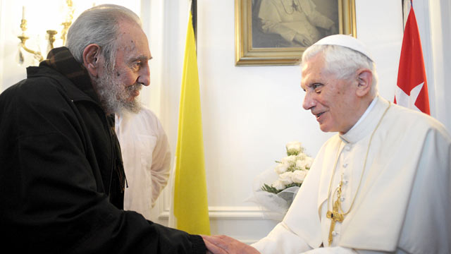 PHOTO: Pope Benedict XVI meets with Fidel Castro in Havana, March 28, 2012.