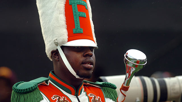 PHOTO: Robert Champion, a drum major in Florida A&M Universitys Marching 100 band, performs during halftime of a football game in Orlando, Fla.