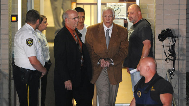 PHOTO: Jerry Sandusky leaves the Centre County Courthouse Friday, June 22, 2012, after being found guilty in his sexual abuse trial, at the Centre County Courthouse, in Bellefonte, Pa.