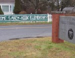 PHOTO: This December 2012 photo provided by The Newtown Bee shows a sign welcoming Sandy Hook Elementary School students, of Newtown, Conn., to the Chalk Hill School campus in neighboring Monroe, Conn.