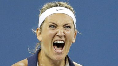 PHOTO: Victoria Azarenka reacts after defeating Aleksandra Krunic during the fourth round of the 2014 U.S. Open tennis tournament on Sept. 1, 2014, in New York.