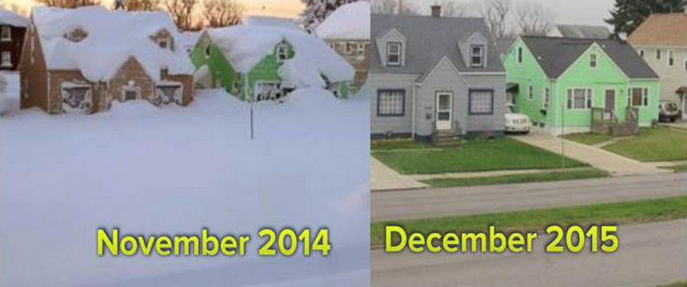 PHOTO: Buffalo, NY in November of 2014 and that same street now in December 2015.