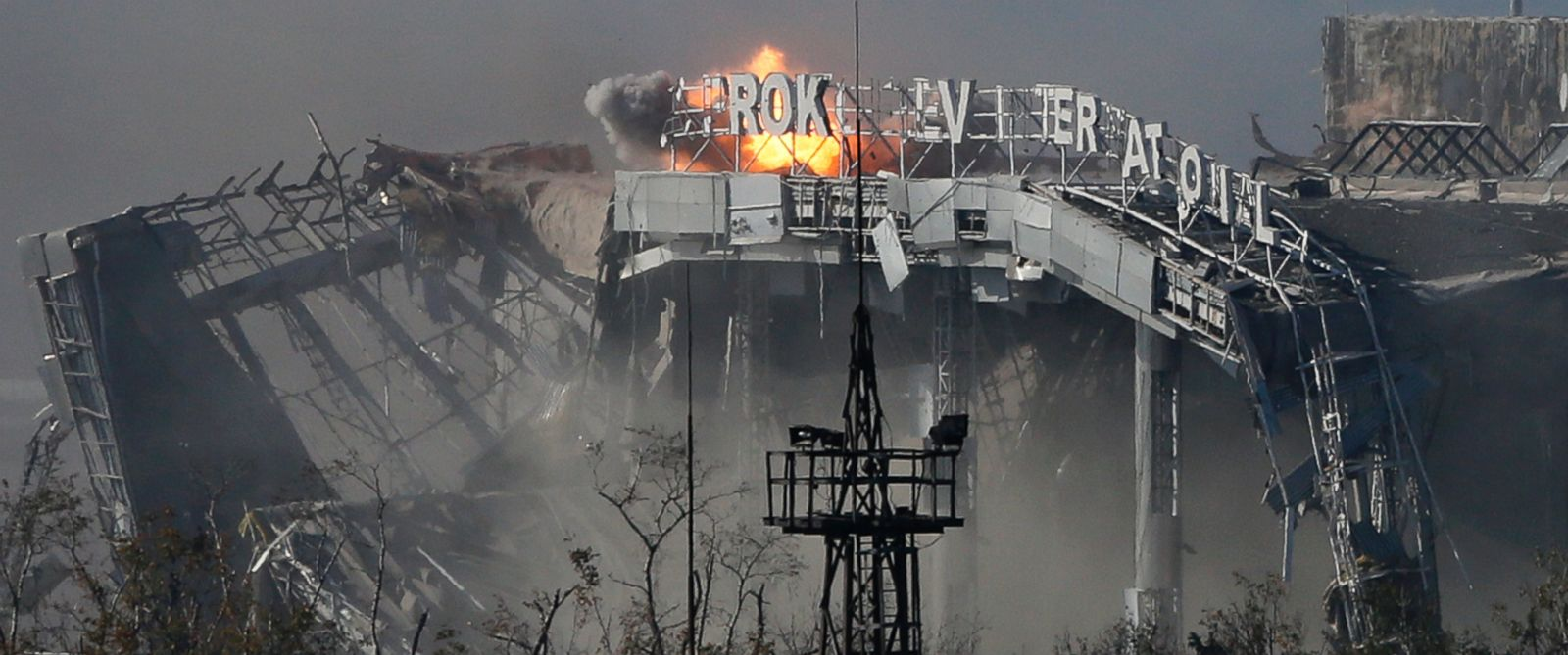 PHOTO: The main terminal of Donetsk Sergey Prokofiev International Airport hit by shelling during fighting between pro-Russian rebels and Ukrainian government forces in the town of Donetsk, eastern Ukraine, Oct. 8, 2014.