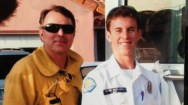 PHOTO: This undated photo courtesy of the the Woyjeck family shows firefighter, Kevin Woyjeck, right, and his father, Los Angeles County Fire Capt. Joe Woyjeck. Kevin Woyjeck of Seal Beach, Calif., was one of the 19 Granite Mountain Hotshot Crew, who was