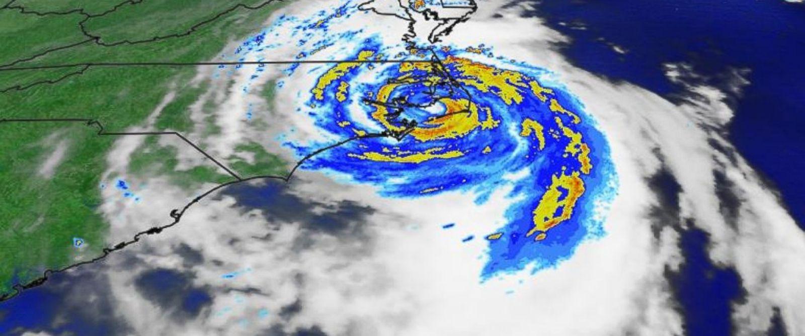 PHOTO: The eye of Hurricane Arthur made landfall at 11:15 p.m. on July 3, 2014 at Cape Lookout, North Carolina.