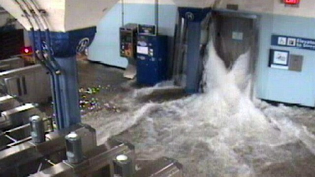 VIDEO: The largest rapid-transit system in the U.S. took a hit from the storm.