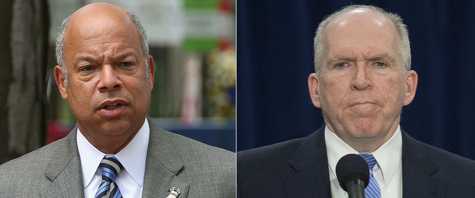PHOTO: Pictured from left, Jeh Johnson, Secretary of Homeland Security, and John Brennan, CIA Director.