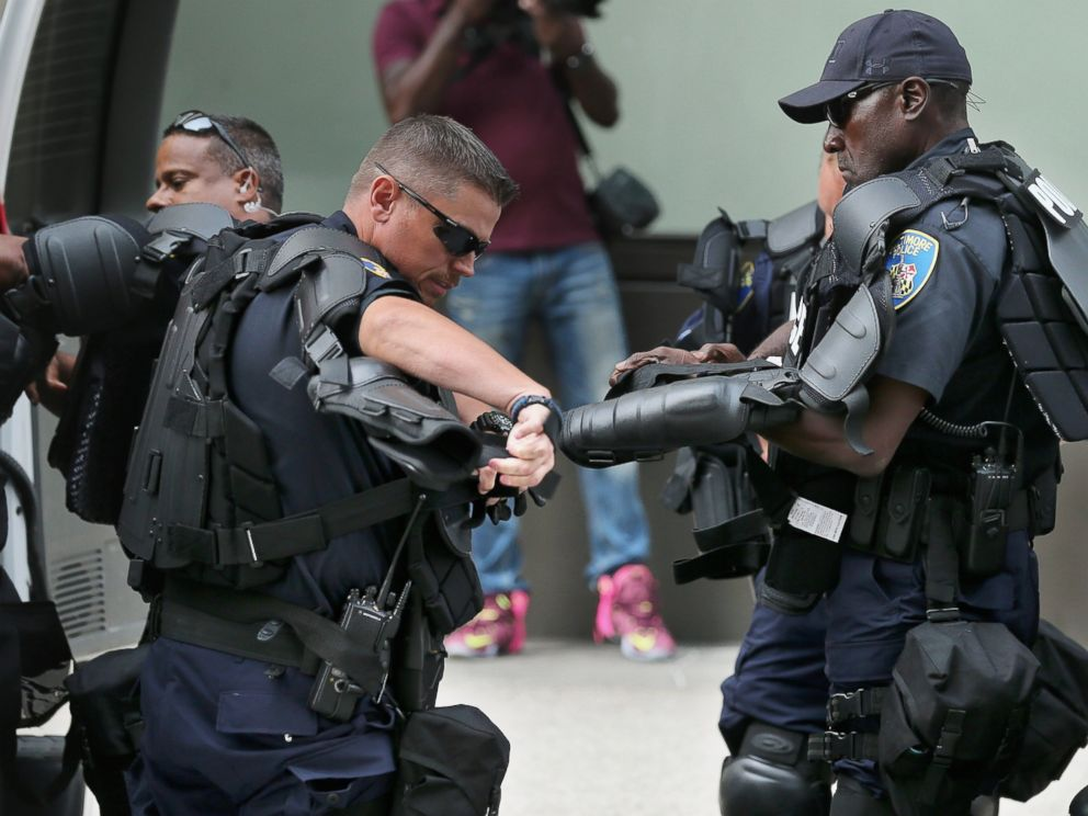 PHOTO: Baltimore City police don riot gear near a demonstration at the Inner Harbor, Sept. 2, 2015 in Baltimore, Maryland.