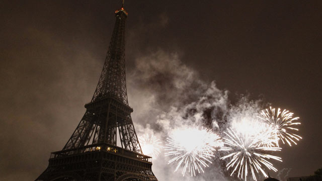 PHOTO: Fireworks burst over the Eiffel Tower during traditional Bastille Day celebrations on July 14, 2011 in Paris.