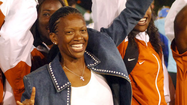 PHOTO: Texas womens coach Bev Kearney celebrates with her team after the Longhorns won the team title in the NCAA Track & Field Championships at Sacramento States Hornet Stadium in Sacramento, Calif. on June 11, 2005.