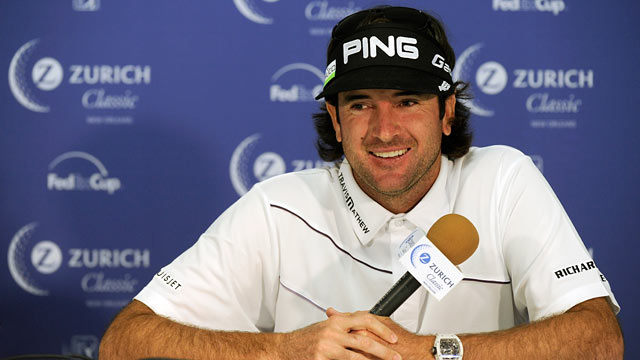 PHOTO: Bubba Watson is interviewed in the media center during practice for the Zurich Classic of New Orleans at TPC Louisiana, April 24, 2012 in New Orleans, Louisiana.