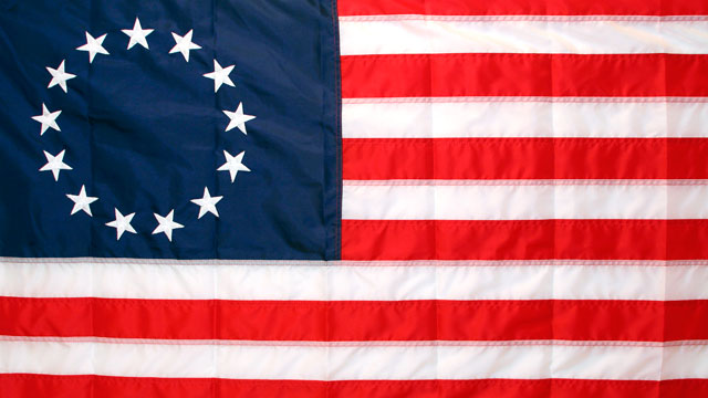 PHOTO: 1776 Colonial Flag with 13 stars.