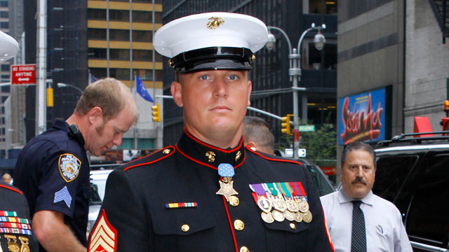 """PHOTO: Sgt. Dakota Meyer leaves the """"Late Show With David Letterman"""" at the Ed Sullivan Theater, New York City, Sept. 22, 2011."""