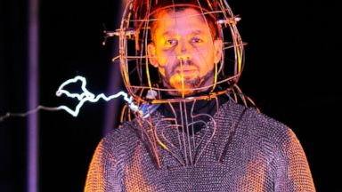 """PHOTO: David Blaine seen during the """"Electrified: One Million Volts Always On"""" at Pier 54 on October 5, 2012 in New York City."""