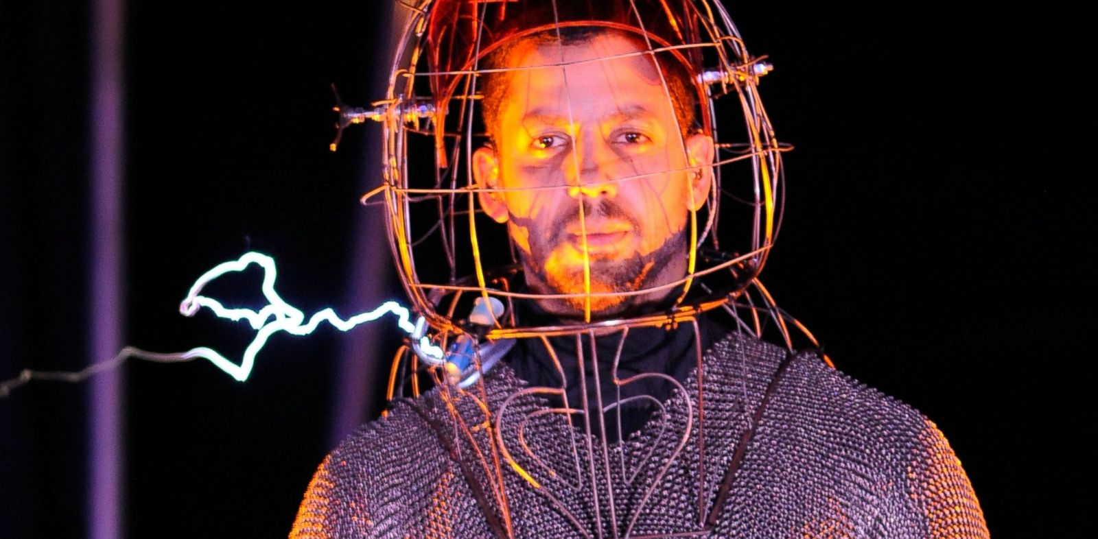 "PHOTO: David Blaine seen during the ""Electrified: One Million Volts Always On"" at Pier 54 on October 5, 2012 in New York City."