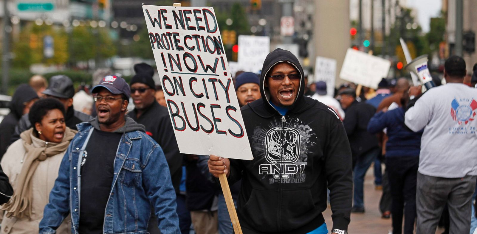 PHOTO: Detroit Department of Transportation bus drivers hold a sickout protest outside the Coleman A. Young Municipal Center, Oct. 21, 2013, in Detroit.