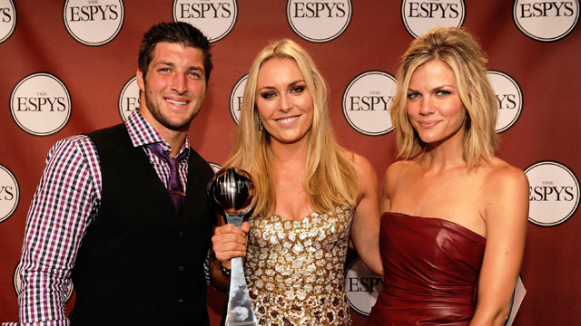 PHOTO: Tim Tebow of the Denver Broncos, skier Lindsey Vonn and model Brooklyn Decker pose backstage at the 2011 ESPY Awards in Los Angeles, California.