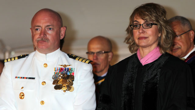 PHOTO: Captain Mark Kelly and Former Congresswoman Gabrielle Giffords attend Bard College's 153rd Commencement at the Seth Goldfine Memorial Rugby Field at Bard College, May 25, 2013, in Annandale-on-Hudson, New York.