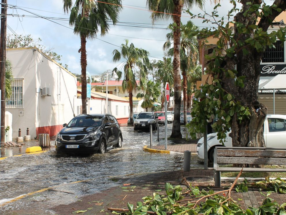 PHOTO: Streets are flooded following hurricane Gonzola in Marigot on the French Caribbean island of Saint Martin, Oct. 14, 2014.