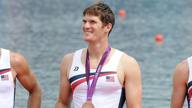 PHOTO: Henrik Rummel of the United States rowing team is awarded a bronze medal at the 2012 Olympic Games on August 4, 2012 in Windsor, England.