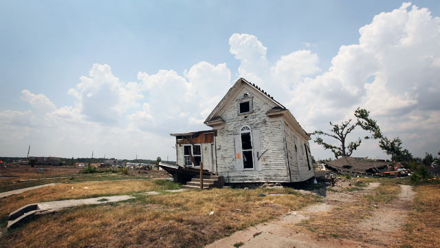 PHOTO: A single home remains standing in what was once a neighborhood prior to the May 22 tornado.