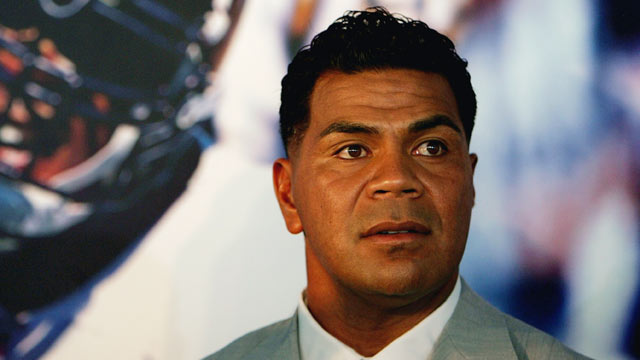 PHOTO: Junior Seau looks on during a press conference to announce his retirement from the NFL on August 14, 2006 at the Chargers Training Camp in San Diego, California.