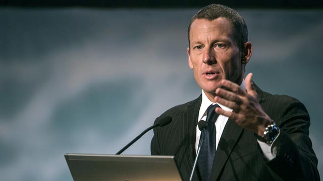 PHOTO: Global cancer advocate Lance Armstrong, chairman and founder of Livestrong, speaks, Aug. 29, 2012 in Montreal, Quebec, Canada.
