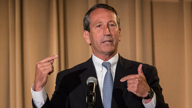 PHOTO: Former South Carolina Governor Mark Sanford, makes a point during a debate against U.S. House of Representatives Democratic candidate for the state of South Carolina Elizabeth Colbert Busch at the Citadel on April 29, 2013 in Charleston, S.C.