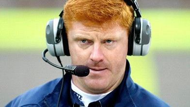 PHOTO: Coach Mike McQueary of the Penn State Nittany Lions watches the action on the field from the sidelines against the Illinois Fighting Illini at Memorial Stadium, in this Oct. 3, 2009 file photo, in Champaign, Ill.