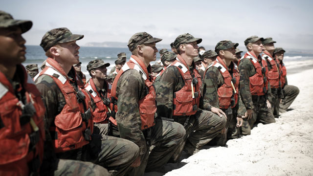 PHOTO: A group of Navy Seal trainees during Hell Week at a beach in Coronado, CA., Aug. 2010.