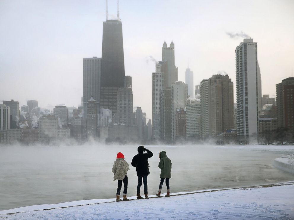 PHOTO: Mist rises from Lake Michigan at North Avenue Beach as temperatures dipped well below zero on Jan. 6, 2014 in Chicago, Illinois.