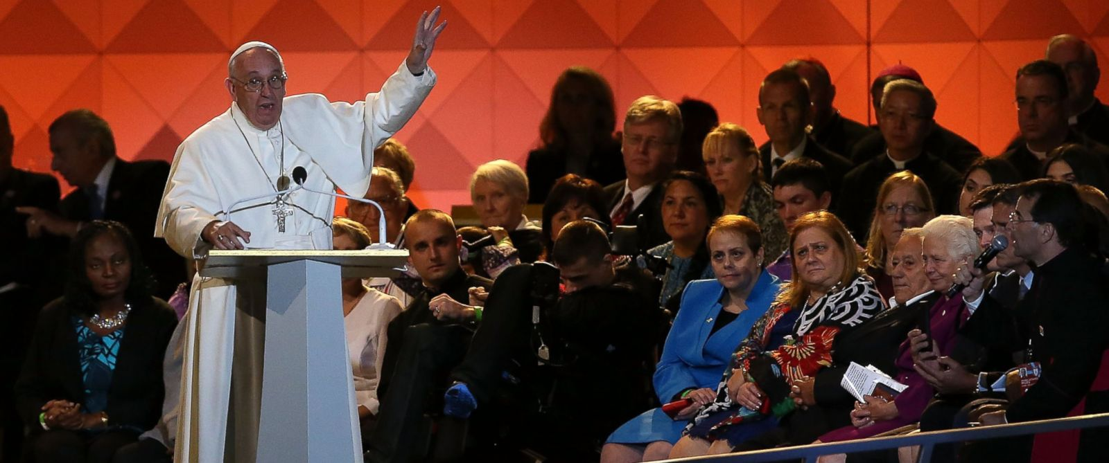 PHOTO: Pope Francis speaks during the Festival of Families on Sept. 26, 2015 in Philadelphia.