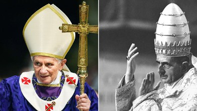 PHOTO: Pope Benedict XVI, left, and Pope Paul VI are shown in their pontifical robes.