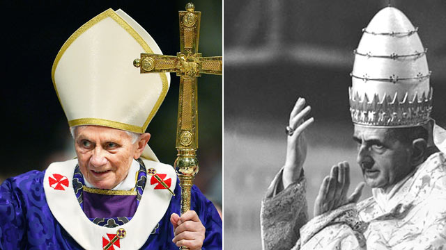 PHOTO:Pope Benedict XVI, left, and Pope Paul VI are shown in their pontifical robes.