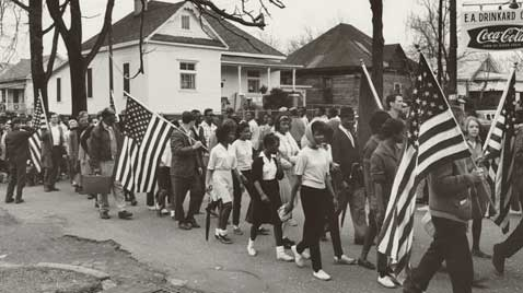 gty selma montgomery civil rights march flags thg 120130 wblog Black History Month: Selma to Montgomery Marches