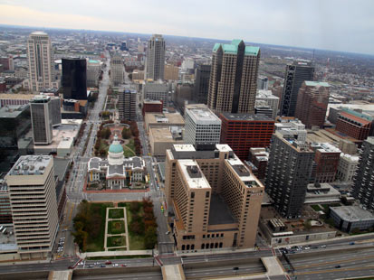 PHOTO: Downtown St. Louis from the observatory deck of the Gateway Arch in St. Louis, Mo., Nov. 4, 2012.