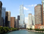 PHOTO: Trump International Hotel and Towers, center, is shown on the Chicago River, in Chicago, Ill., Aug. 1, 2012.