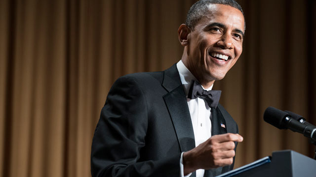 PHOTO: US President Barack Obama speaks during the White House Correspondents? Association Dinner April 27, 2013 in Washington, DC.