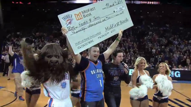 Fan Scores Half-Court Shot, Wins $20K for Wife's Cancer Treatment