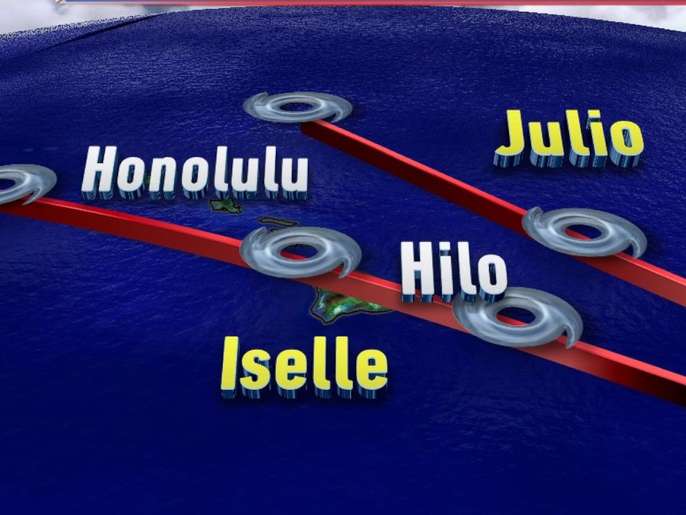 PHOTO: The forecast Path of storms Iselle and Julio, which are threatening Hawaii.